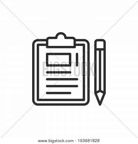 Clipboard and pencil line icon outline vector sign linear style pictogram isolated on white. Symbol logo illustration. Editable stroke. Pixel perfect graphics