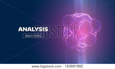Abstract regeneration process background. Teleport organic particle grid. Synthesis illustration