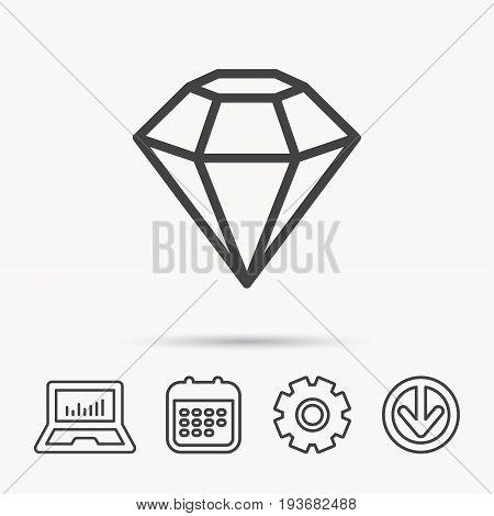 Diamond icon. Brilliant gemstone sign. Notebook, Calendar and Cogwheel signs. Download arrow web icon. Vector
