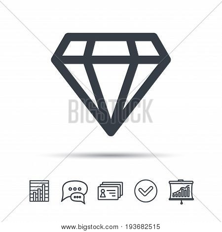Diamond icon. Jewelry gem symbol. Brilliant jewel sign. Chat speech bubble, chart and presentation signs. Contacts and tick web icons. Vector