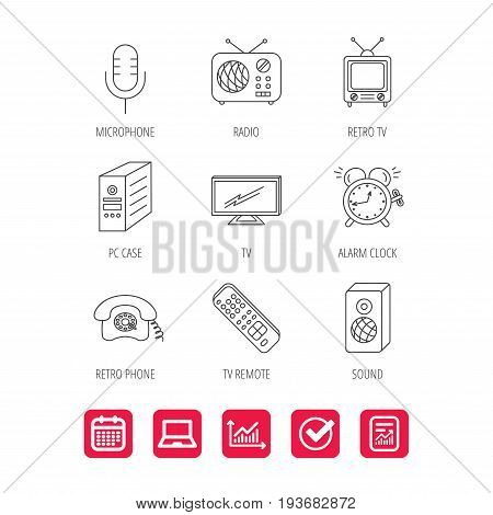 TV remote, retro phone and radio icons. PC case, microphone and alarm clock linear signs. Report document, Graph chart and Calendar signs. Laptop and Check web icons. Vector