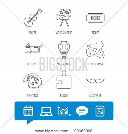 Puzzle, guitar music and theater masks icons. Ticket, video camera and 3d glasses linear signs. Entertainment, painting and mustache icons. Report file, Graph chart and Chat speech bubble signs