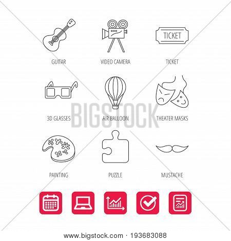 Puzzle, guitar music and theater masks icons. Ticket, video camera and 3d glasses linear signs. Entertainment, painting and mustache icons. Report document, Graph chart and Calendar signs. Vector