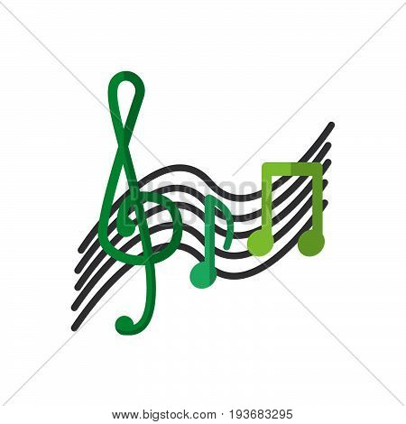 Treble clef and music notes flat icon filled vector sign colorful pictogram isolated on white. Music symbol logo illustration. Flat style design