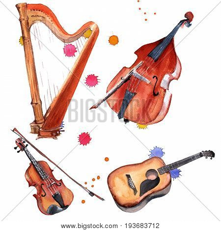 Musical instruments set. Harp, violin, double bass and guitar. Isolated on white background. Watercolor illustration
