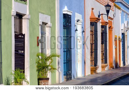 View of colonial architecture in the street in Campeche Mexico.