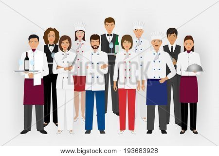 Hotel restaurant team concept in uniform. Group of catering service characters standing together: chef cook waiters and barman. Welcoming banner. Vector illustration.