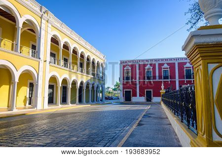 View of street on the main plaza in Campeche Mexico