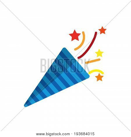Confetti popper flat icon filled vector sign colorful pictogram isolated on white. Symbol logo illustration. Flat style design