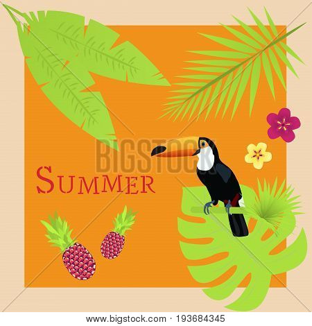 Summertime. Toucan with palms, pineapple and tropical flowers in fresh tropical colors.