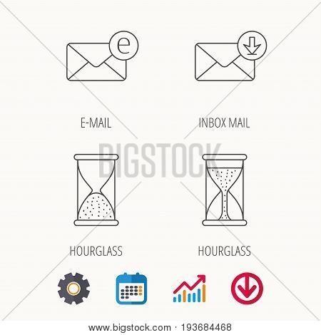 Hourglass, inbox mail and e-mail icons. Hourglass linear sign. Calendar, Graph chart and Cogwheel signs. Download colored web icon. Vector