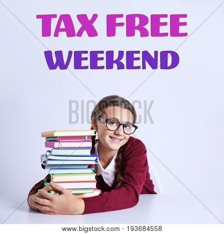 Girl with books and text TAX FREE WEEKEND on light background