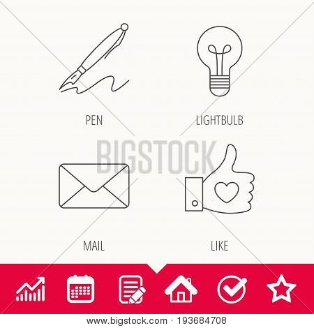 Mail, heart and lightbulb icons. Pen linear sign. Edit document, Calendar and Graph chart signs. Star, Check and House web icons. Vector