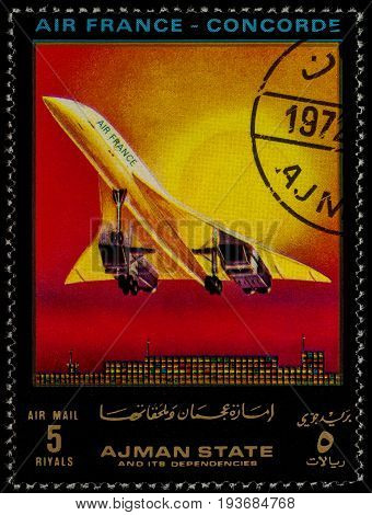 Moscow Russia - July 03 2017: A stamp printed in Ajman shows supersonic passenger airliner Concorde Air France series