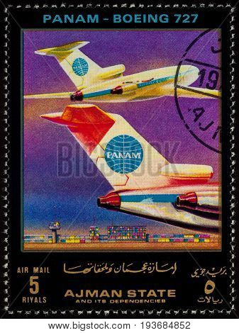 Moscow Russia - July 03 2017: A stamp printed in Ajman shows passenger airliner Boeing 727 Pan Am series