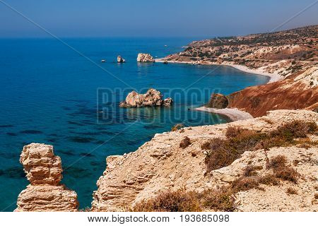 Panoramic Landscape Petra Tou Romiou (the Rock Of The Greek), Aphrodite's Legendary Birthplace I