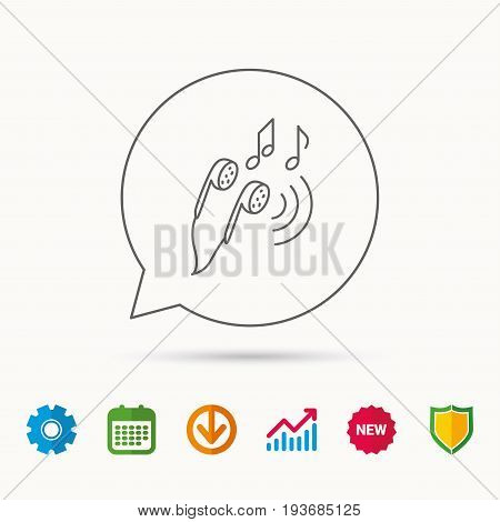 Headphones icon. Musical notes signs. Calendar, Graph chart and Cogwheel signs. Download and Shield web icons. Vector