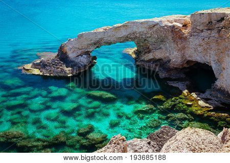 Beautiful Natural Rock Arch Near Of Ayia Napa, Cavo Greco And Protaras On Cyprus Island, Mediterrane