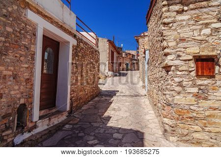 Street In Kato Lefkara - Is The Most Famous Village In The Troodos Mountains. Limassol District, Cyp