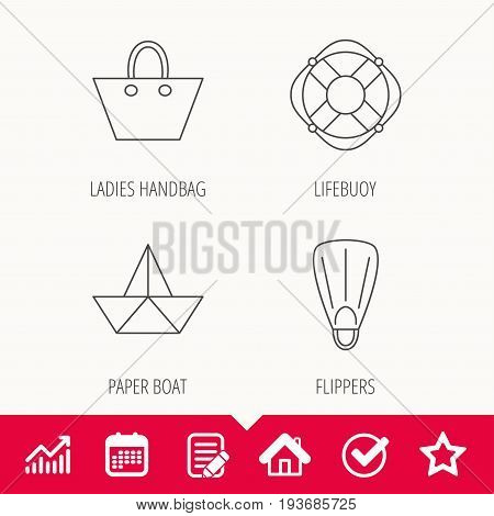 Paper boat, flippers and lifebuoy icons. Women handbag linear sign. Edit document, Calendar and Graph chart signs. Star, Check and House web icons. Vector
