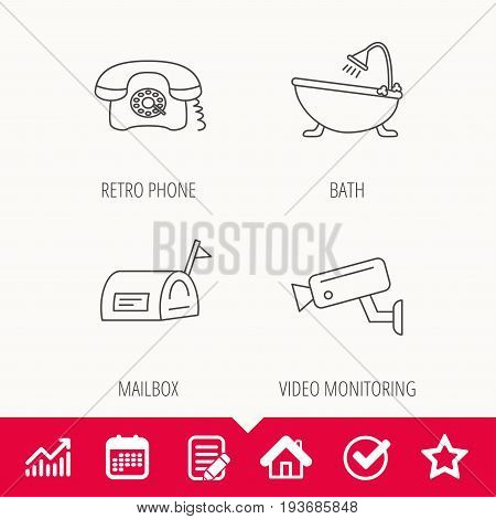 Retro phone, video camera and mailbox icons. Bath linear sign. Edit document, Calendar and Graph chart signs. Star, Check and House web icons. Vector