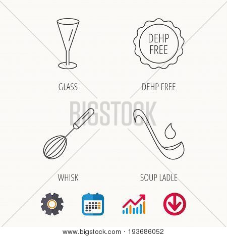 Soup ladle, glass and whisk icons. DEHP free linear sign. Calendar, Graph chart and Cogwheel signs. Download colored web icon. Vector