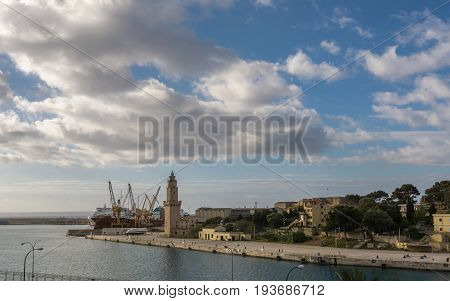 Palma de Mallorca Sea view from Porto Pi and harbor in Balearic islands, Spain, time lapse. Planes flying in the direction of the airport. A container ship is being loaded by cranes