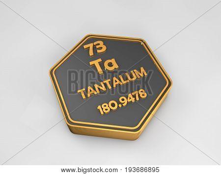 tantalum - Ta - chemical element periodic table hexagonal shape 3d render