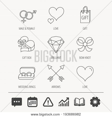 Love heart, gift box and wedding rings icons. Bow and engagement linear signs. Valentine amour arrows, brilliant flat line icons. Education book, Graph chart and Chat signs. Vector