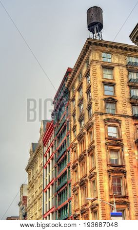 Old buildings on Broadway in New York City, USA