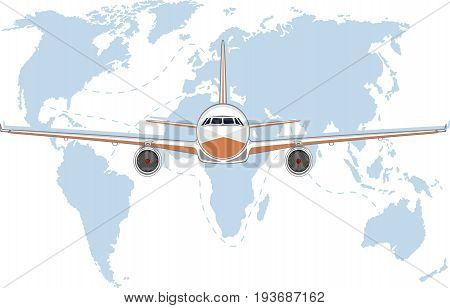 Aviation poster with jet airplane. Commercial air shipment fast freight delivery global cargo transportation. Worldwide tourist and business flights low cost airline banner vector illustration.