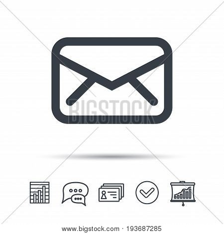 Envelope icon. Send email message sign. Internet mailing symbol. Chat speech bubble, chart and presentation signs. Contacts and tick web icons. Vector