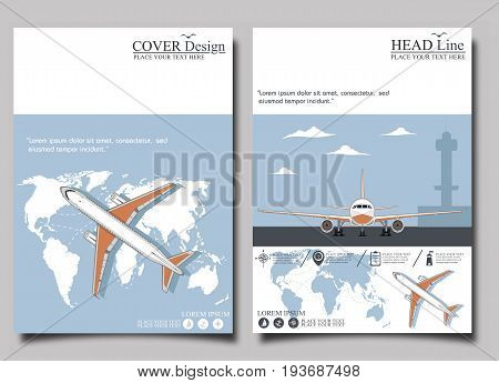 Aviation flyers set with jet airplane. Commercial air shipment fast freight delivery global cargo transportation. Worldwide tourist and business flights low cost airline banner vector illustration.