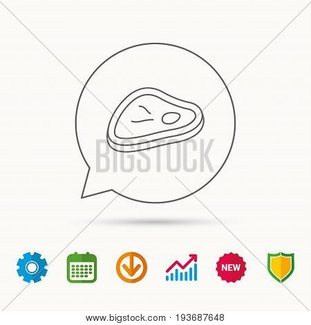 Meat icon. Beef steak sign. Barbecue meat slice symbol. Calendar, Graph chart and Cogwheel signs. Download and Shield web icons. Vector