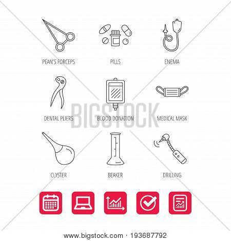 Medical mask, blood and dental pliers icons. Pills, drilling tool and clyster linear signs. Enema, lab beaker and forceps flat line icons. Report document, Graph chart and Calendar signs. Vector