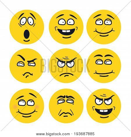 cartoon faces with expressions. Emotion set. Scared, happy, smiling, skeptical, ungry, pensive, embarrassed, upset, insidious.