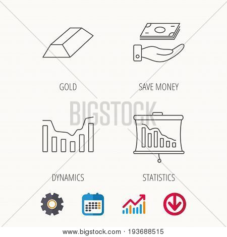 Save money, dynamics chart and statistics icons. Gold bar linear sign. Calendar, Graph chart and Cogwheel signs. Download colored web icon. Vector