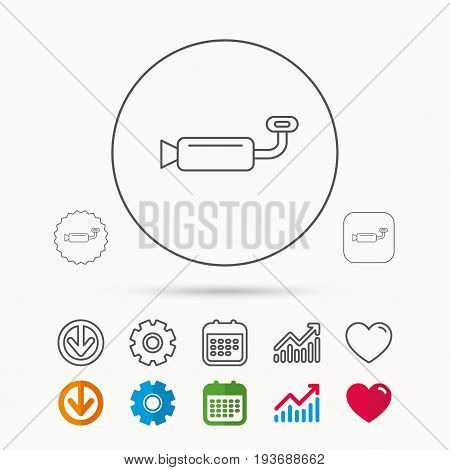 Muffer icon. Car fuel pipe or exhaust sign. Calendar, Graph chart and Cogwheel signs. Download and Heart love linear web icons. Vector