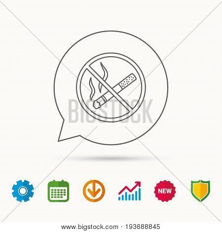 No smoking icon. Stop smoke sign. Calendar, Graph chart and Cogwheel signs. Download and Shield web icons. Vector