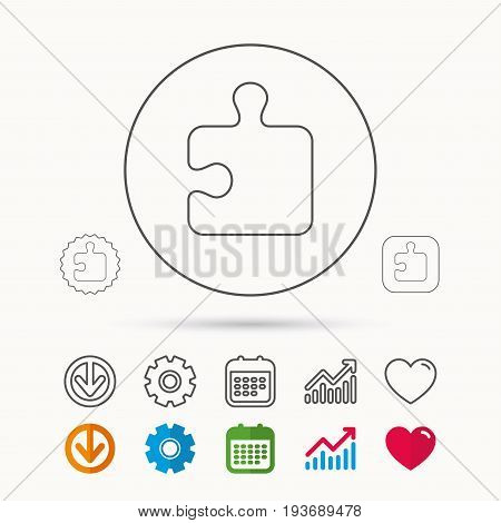 Puzzle icon. Jigsaw logical game sign. Boardgame piece symbol. Calendar, Graph chart and Cogwheel signs. Download and Heart love linear web icons. Vector