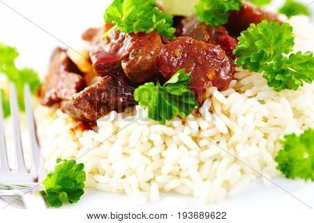 Beef Ragout on White Rice (close up)