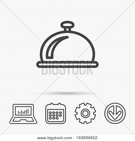 Reception bell icon. Hotel service sign. Notebook, Calendar and Cogwheel signs. Download arrow web icon. Vector