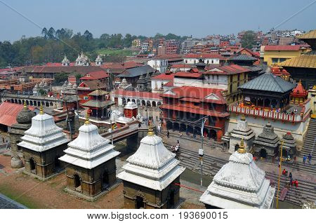 View of Pashupatinath hindu temples and cremation ghats in Khatmandu, Nepal