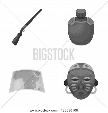 Hunting rifle, flask in the case, map, African mask. African safari set collection icons in monochrome style vector symbol stock illustration .