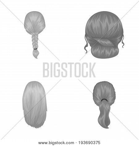 Light braid, fish tail and other types of hairstyles. Back hairstyle set collection icons in monochrome style vector symbol stock illustration .