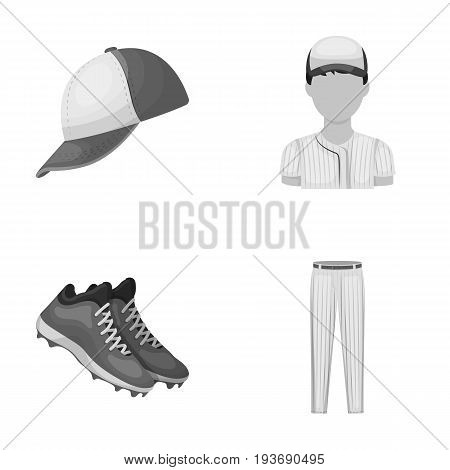 Baseball cap, player and other accessories. Baseball set collection icons in monochrome style vector symbol stock illustration .