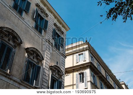 Rome Italy - August 18 2016: Low angle view of Quirinal Palace a sunny summer day. It is a historic building in Rome official residence of the President of the Italian Republic.