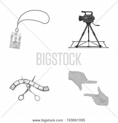 Badge, operator gesture and other accessories for the movie. Making movie set collection icons in monochrome style vector symbol stock illustration .
