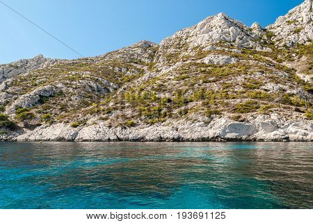 The white cliff of the Calanques near Cassis (Provence France)