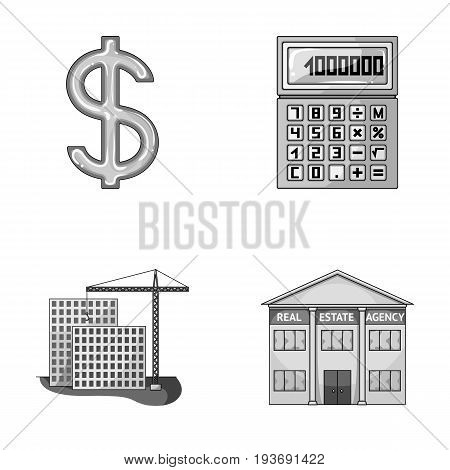 Calculator, dollar sign, new building, real estate offices. Realtor set collection icons in monochrome style vector symbol stock illustration .